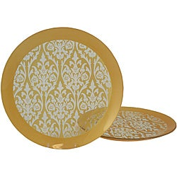 Gold Damask Platters (Set of 2)