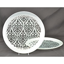 Silver Damask Platters (Set of 2)