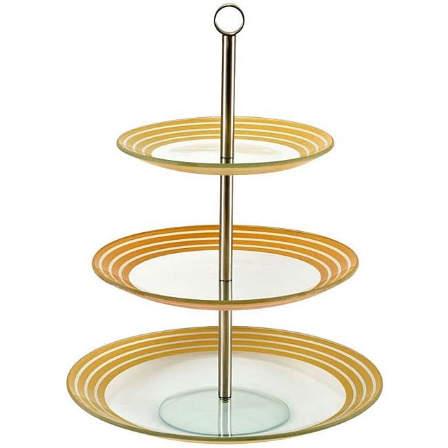 Silver/ Gold Stripe 3-tier Petits Fours Server