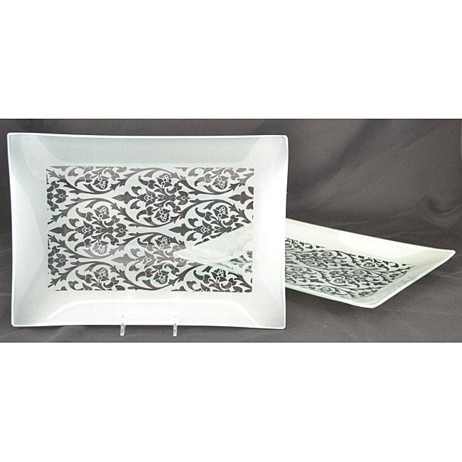 Silver Damask Rectangular Platters (Set of 2)