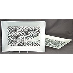 Silver Damask Rectangular Platters (Set of 2)