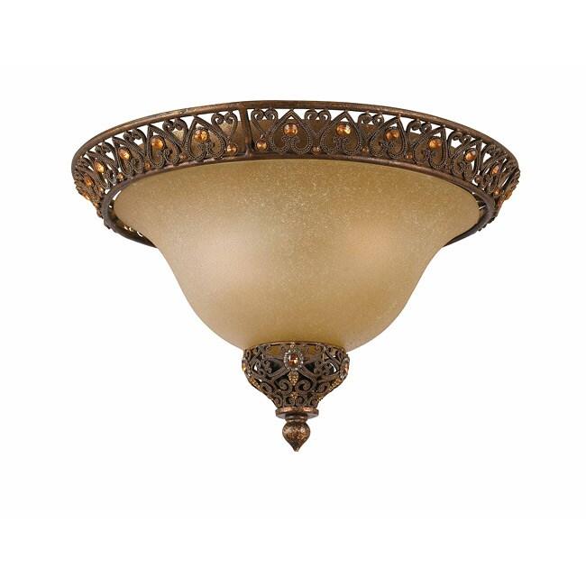 Crown Jewel Antique Gold Leaf 2-Light Flush