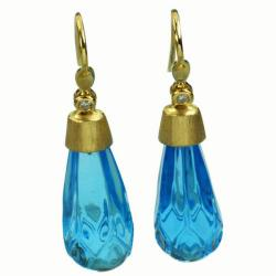 De Buman 18k Yellow Gold Swiss Blue Topaz and Diamond Earrings