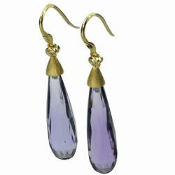 De Buman 18k Yellow Gold Amethyst and Diamond Earrings