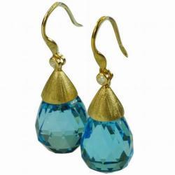 De Buman 18k Yellow Gold Swiss Blue Topaz and Diamond Earrings