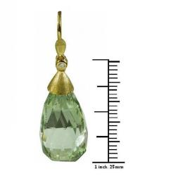 De Buman 18K Yellow Gold Green Quartz and Diamond Earrings
