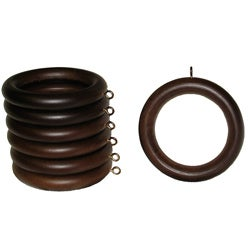 Wood 2-inch English Walnut Curtain Rings (Set of 7)