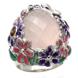 Beverly Hills Charm Silver Enamel, Rose Quartz and Garnet Ring