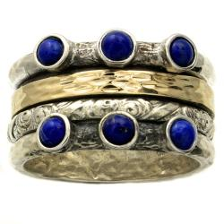 Beverly Hills Charm 14k Gold and Silver Lapis Spinning Band