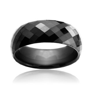 Men's Tungsten Carbide Black Faceted Dome Ring (8 mm)