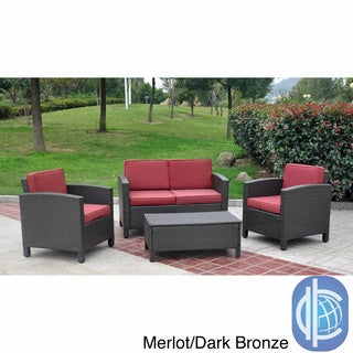 International Caravan Saint Maarten Resin Wicker Upholstered 4-Piece Outdoor Set