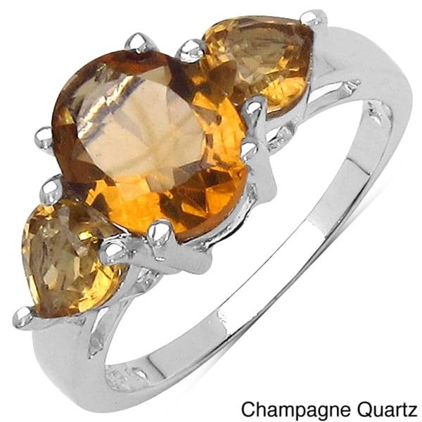 Malaika Sterling Silver Oval-cut Gemstone 3-stone Ring
