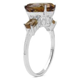 Malaika Sterling Silver Champange Quartz Three-Stone Ring