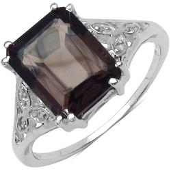 Malaika Sterling Silver Smoky and White Topaz Ring