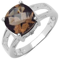 Malaika Sterling Silver Smoky-and-white Oval-cut Topaz Ring