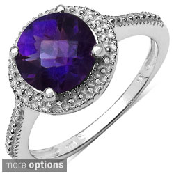 Malaika Sterling Silver Round Prong-set Gemstone Ring