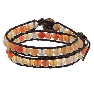 La Preciosa Crystal Bead Leather Wrap Bracelet
