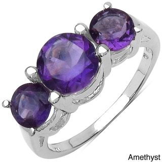 Malaika Sterling Silver Round-cut Gemstone 3-stone Ring