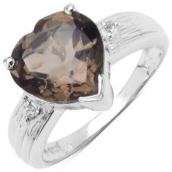 Malaika Sterling Silver Smokey and White Topaz Ring (2 4/5ct TGW)