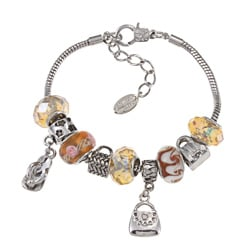 La Preciosa Silverplated Yellow-beaded Seven-inch Charm Pandora-style Bracelet