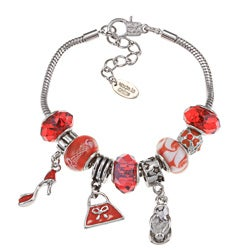 La Preciosa High-polish Silvertone Red Bead and Charm Bracelet