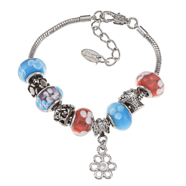La Preciosa Silvertone Blue, Purple and Red Flower Bead Charm  Bracelet 8652618