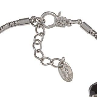 La Preciosa Silvertone Black Bead Enamel Charm  Bracelet