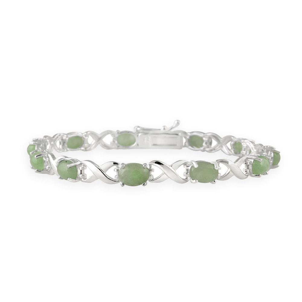 Glitzy Rocks Sterling Silver X and O Green Jade Bracelet