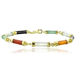 Glitzy Rocks 18k Gold over Sterling Silver Multi-colored Jade Link Bracelet