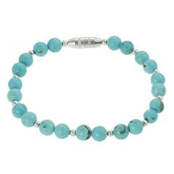Journee Collection Sterling Silver Children's Created Turquoise Bead Bracelet