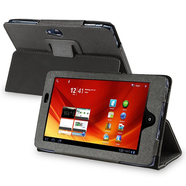 INSTEN Black Leather Phone Case Cover for Acer Iconia A100