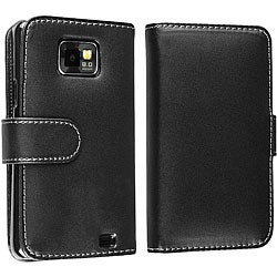 Black Leather Case with Credit Card Wallet for Samsung Galaxy S2 i9100
