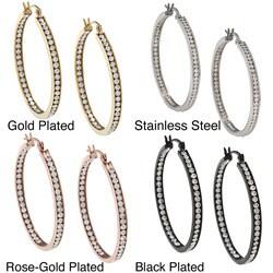 La Preciosa Stainless Steel Crystals 40mm Hoop Earrings