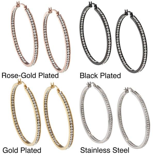 La Preciosa Stainless Steel Crystals 50 mm Hoop Earrings
