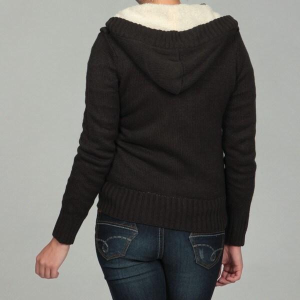 Carducci Women's Sherpa Lined Toggle Cardigan Sweater