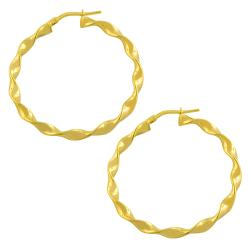 Fremada Gold over Sterling Silver 3x34-mm Twist Hoop Earrings