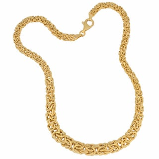 Fremada Gold Over Sterling Silver Graduated Byzantine Necklace (17-inch)