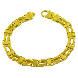 Fremada Gold over Sterling Silver Men's Fancy Double Link Bracelet