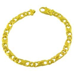 Fremada Gold over Sterling Silver Men's Fancy Figaro Link Bracelet