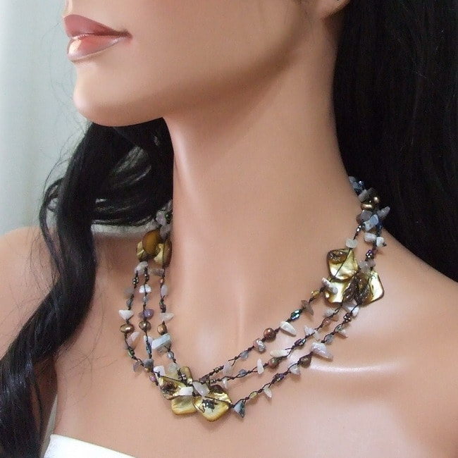 Brown Shell and Agate Three-Row Necklace (5-8 mm)(Thailand)
