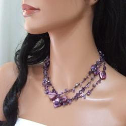 Purple Shell and Amethyst Three-Row Necklace (5-6 mm)(Thailand)