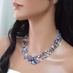 Blue Shell and Blue Quartz Three-Row Necklace (5-8 mm)(Thailand)