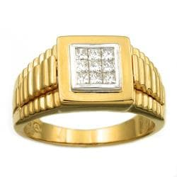 Beverly Hills Charm 18k Gold over Silver Men's 1/2ct TDW Diamond Ring (H-I, I1)