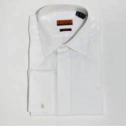 Enzo Tovare Men's White Micro Pattern Formal Cotton Shirt