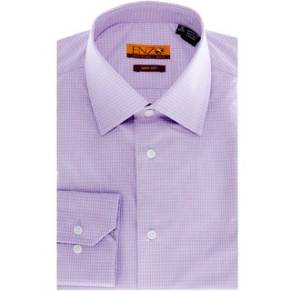 Enzo Tovare Men's Blue with Lavender Checked Cotton Dress Shirt