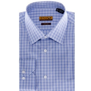 Enzo Tovare Men's Blue Windowpane Cotton Dress Shirt