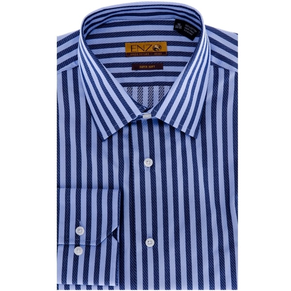 Navy blue gingham mens dress shirt