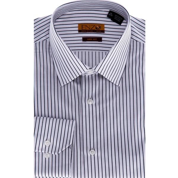 Men's White/ Black Stripe Cotton Dress Shirt