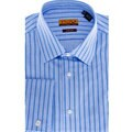 Enzo Tovare Men's Blue Stripe Cotton French-Cuff Dress Shirt
