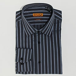 Enzo Tovare Men's Grey Striped Cotton Dress Shirt